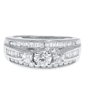 14k White Gold Three Stone Ring with Round and Baguette Diamonds (1.0 ct)