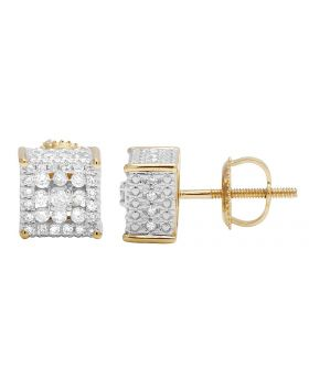 10K Yellow Gold Real Diamond Cube 3D Studs Earring .65CT 7MM