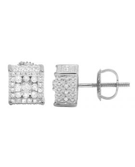 10K White Gold Real Diamond Cube 3D Studs Earring .65CT 7MM