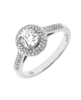 14k White Gold Solitaire Diamond Engagement Ring (1 ct)