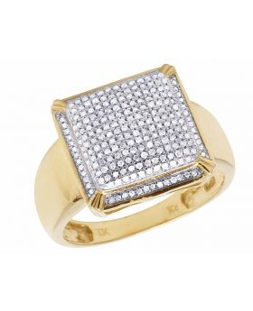Men's 10K Yellow Gold Real Diamond Square Pinky Ring 1/2 CT 15MM