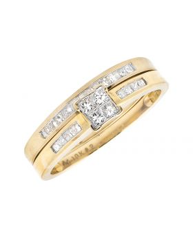 Ladies Yellow Gold Princess-Cut Diamond Bridal Set Ring (0.50ct)