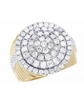 Men's 10K Yellow Gold Real Diamond Round Cluster Pinky Ring 2 3/5 CT 21MM