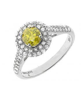 14k White Gold Canary Solitaire Diamond Engagement Ring (1 ct)