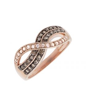 10K Rose Gold Infinity Cognac Brown And White Diamond Band Ring 0.50ct