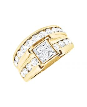 14K Yellow Gold Invisible Set Princess/ Round Diamond Bridal Set Ring (2.0ct)