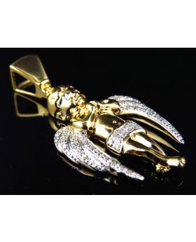 Ascending Winged Angel Pendant in Yellow Gold Finish (0.25 ct)
