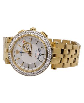 """Versace Men's 29G70D001 S070 """"V-Race"""" Stainless Steel Watch with Diamonds (5 Ct)"""