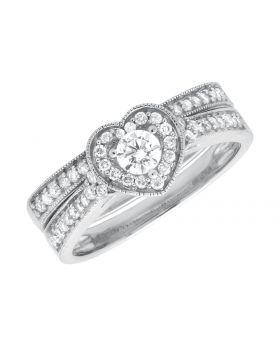 14K White Gold Milgrain Heart Shaped Diamond Engagement Wedding Ring Set (0.55ct)