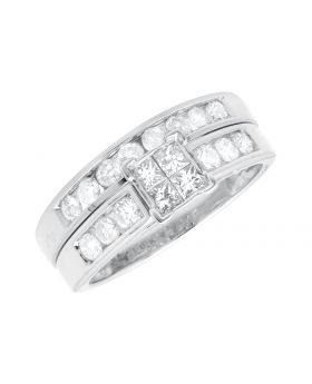 Ladies White Gold Invisible Set Princess/Round Diamond Bridal Set Ring (1.0ct)