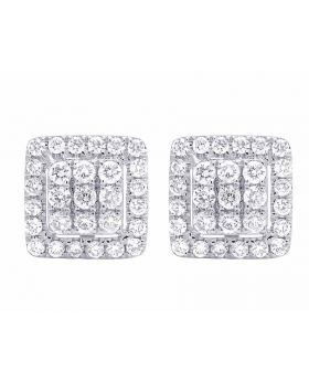 14K White Gold Real Full Cut Diamond 10MM Square Halo Cluster Stud Earring 1 ct