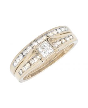 Ladies Yellow Gold Invisible Set Princess/Round Diamond Bridal Set Ring (0.50ct)