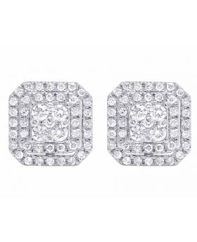 14K White Gold 11MM Double Square Halo Genuine Round Diamond Stud Earrings 1 CT