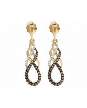 Ladies 10K Yellow Gold Infinity Brown And White Diamond Dangle Earring 1/4 Ct.