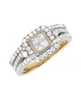 14K Yellow Gold Princess Quad Square Halo Diamond Engagement Wedding Set (1.0ct)