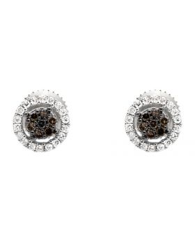 10K White Gold Halo Frame Brown and White Diamond Stud Earring 0.25Ct.