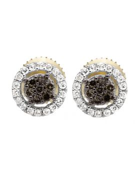 10K Yellow Gold Halo Frame Brown and White Diamond Stud Earring 0.25ct.
