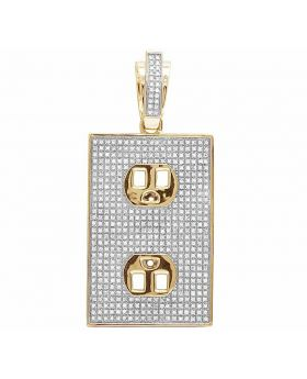 Men's 10K Yellow Gold Real Diamond Wall Socket Pendant 1.50ct 2""