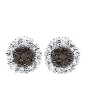 10K White Gold Flower Halo Brown and White Diamond Stud Earring 0.50ct.