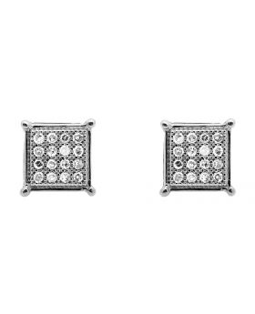 10K White Gold 6MM Square Kite Diamond Stud Earrings 0.15Ct.