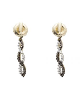 10K Yellow Gold Twist Ribbon Brown And White Diamond Dangle Earring 0.18ct.