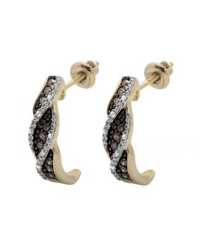 10K Yellow Gold Swirl Brown and White Diamond Earrings 0.21ct.
