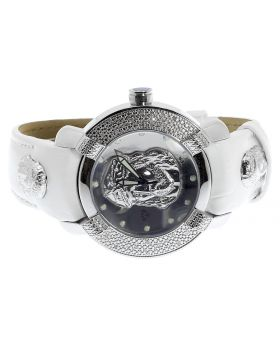 Mens White Aqua Master Joe Rodeo Jojo Diamond 45mm Jesus W#96 Watch 0.45 ct