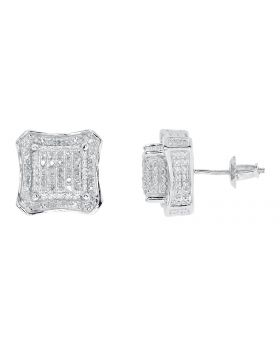 White Gold Finish Pave Diamond 12mm Kite Octagon Studs Earrings (0.40 ct)