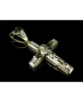 10K Yellow Gold Real Diamond Crucifix Cross Pendant 0.20ct 1.75""