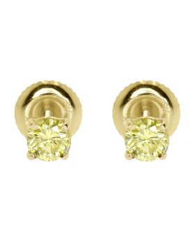 14k Gold Round Canary Solitaire Diamond Studs Earrings (0.80 ct)