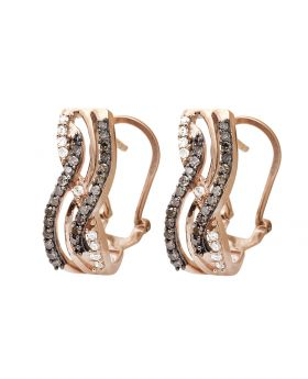 10K Rose Gold Infinity Brown And White Diamond Dangle Earring 0.50ct.