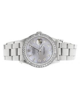 Rolex Datejust Oyster Quickset MOP Dial Oyster Band Diamond Watch (3.0 Ct)