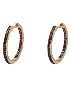 10K Rose Gold Inside-Out Red Diamond Hoop Earrings 0.25ct.