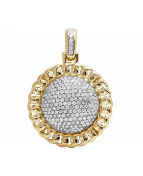 10K Yellow Gold Cuban Puff Real Diamond Round Pillow Pendant 1.75CT 1.4""