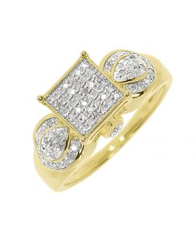 Round Pave Diamond Designer Engagement Ring in Yellow Silver (0.50 ct)