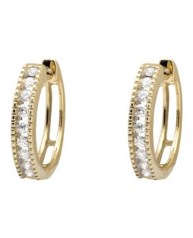 10K Yellow Gold Milgrain One Row Diamond Hoop Earring 0.26ct.