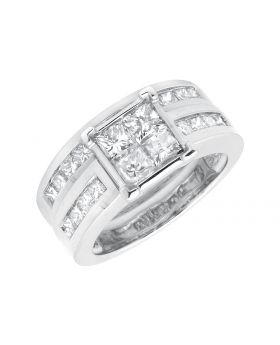 Ladies White Gold Princess-Cut Diamond Bridal Set Ring (3.0ct)