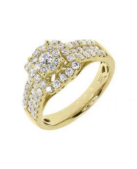 Cluster Round Diamond Halo Engagement Ring in 14k Yellow Gold (1.25 ct)