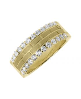 Yellow Gold Brick Pattern Wedding Band For Men with Diamond Edges (1.0 ct)