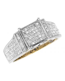 10K Yellow Gold Square Pave Diamond Engagement Ring (0.60 ct)