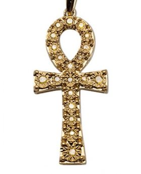 Yellow Gold Mens Canary Stone Ankh Genuine Diamond Charm Pendant 0.25 Ct 1.3""