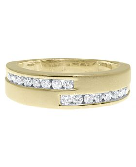 14k Yellow Gold Mens Satin Finish Channel Diamond Band (0.50 ct)