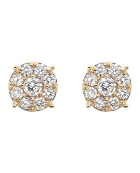 Yellow Gold Shared-Prong Set Flower Diamond Stud Earrings (2.0ct)