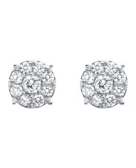 White Gold Shared-Prong Set Flower Diamond Stud Earrings (2.0ct)