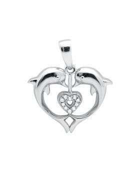 10K White Gold Heart Dolphin Diamond 3/4 Inch Pendant Charm 0.03ct.