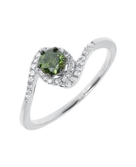 14k White Gold Green Fancy Diamond Solitaire Engagement Ring (0.54 ct)