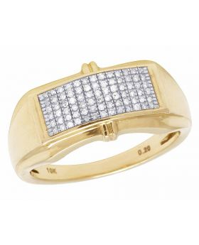 Men's 6 Rows Pave Round Genuine Diamond Band Ring 10k Yellow Gold 1/5 Ct 11MM
