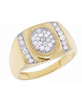 Men's 10K Yellow Gold Oval Center Genuine Round Diamonds Ring 3/5 Ct 13MM