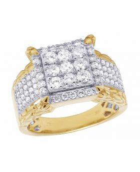 10K Yellow Gold Nugget Square Pinky Diamond Ring 1 1/2 CT 15MM