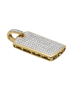 """Yellow Gold Mens Iced Out Dogtag Genuine Diamond Pendant 0.65 Ct 0.9"""""""